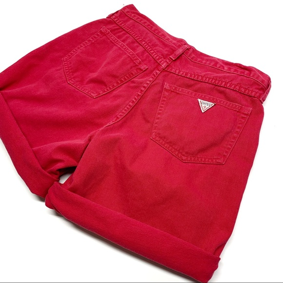 Guess by Marciano Pants - • Vintage GUESS Red Denim Button Fly Shorts N41